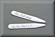 PERSONALIZED STAINLESS STEEL COLLAR STAYS CUSTOM ENGRAVED FREE