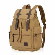 Vintage Canvas Leather Laptop Backpacks Men Hiking Rucksack College Bookbags NEW