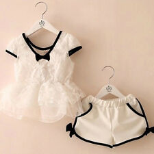 Lovely Kids Girl Summer Lace T-shirt Tops+ Short Pants 2 Pcs White Outfits 2-7Y