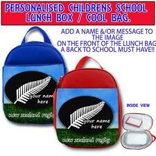 PERSONALISED RUGBY ALL BLACKS NEW ZEALAND CHILDRENS SCHOOL LUNCH BOX COOL BAG