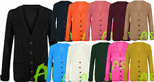 Women's Long Sleeve 5 Button Top Ladies Chunky Aran Cable Knit Grandad Cardigan