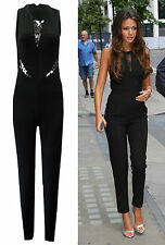 Womens Celeb Michelle Keegan Jumpsuit Black Lace Catsuit All in One Playsuit