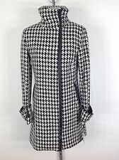 Calvin Klein New W Tag Women's Houndstooth Coat w Black faux leather trim