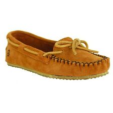 Old Friend Women's Tabitha Suede Slip On Moccasin Slipper Shoes Tan PM447160