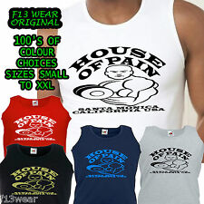HOUSE OF PAIN GYM ATHLETIC VEST Golds Powerhouse t shirt weights  World  MUSCLE