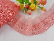 """2 1/4""""*1yard delicate white/Watermelon red embroidered flower tulle lace trim"""