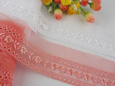 "2 1/4""*1yard delicate white/Watermelon red embroidered flower tulle lace trim"