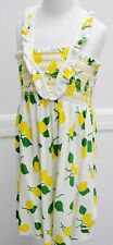 Juicy Couture Marigold Lemon Terry Cloth Printed Smocked Dress Girls NWTS New