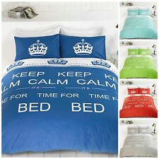 Bright Keep Calm Time For Bed Luxurious Duvet Cover Quilt Set And Pillow Case