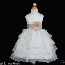 IVORY/CHAMPAGNE BRIDESMAIDS WEDDING PARTY FLOWER GIRL DRESS 12M 18M 2 3/4 6 8 10