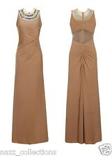 NUDE JEWEL STRETCH RUCHED BACK FISHTAIL SHEER MESH SLINKY MAXI DRESS SIZE 8-16