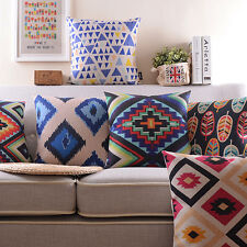 "8 Styles Home Decorative Cushion Cover 18"" Sofa Back Geometric Pillow Cases"