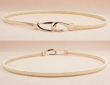 Womens Fashion Thin Skinny Gold Metal Chain Hook Crystal Flower Waistband Belt