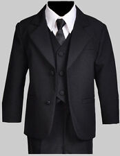Boy Toddler, Teen Ring Bearer Recital Black Suit, Size from  Small to 14
