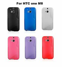 """5"""" Display HTC One M8 4G LTE TPU Rubber Soft Silicone Back Case Cover"""