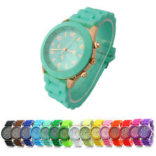 Unisex Womens Mens Geneva Silicone Jelly Gel Quartz Analog Sports Wrist Watches