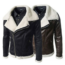 Hot! Mens Air Force pilot leather fur lining thick warm jacket coat outwear
