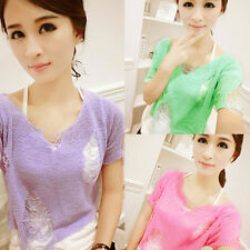 Hole Cut Out Tassel Knitted Smocked Tee Shirt Candy Crop Club Party Top Blouse D