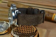 MA WATCH STRAP 24MM GENUINE LEATHER NOBUK SUPERSOFT HANDMADE SPAIN BROWNI L.HAIR