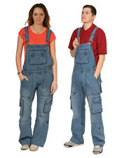 Cargo Pocket Bib Overalls for Men Women Unisex Light Wash Jean Bibs
