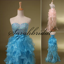 High Low Evening Girl Prom Organza Party Gowns 2014 Hot Sale Short Beading Dress