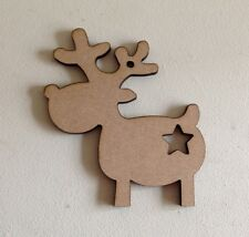 50 x REINDEERS & Star - 9cm- Xmas Wooden MDF Blanks Christmas Craft Gift Tags