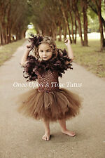 Brown Owl Feather Tutu Dress Girls 3 6 12 18 Months 2T 3T 4T 5 Halloween Costume