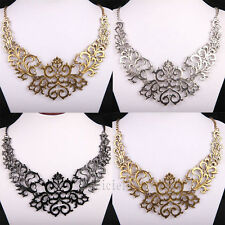 Euramerican style  Lacey Filigree Golden Tone Hollow Out Pendant Bib Necklace