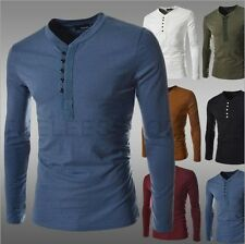 2014 Autumn New Men Long Sleeve Slim Fit V-Neck T-Shirt Top Casual Henley Shirts