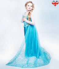 FROZEN ANNA ELSA PRINCESS DISNEY FANCY GIRLS COSTUME PARTY QUEEN DRESS UK SELLER