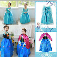 Holloween Dress + Cloak Frozen Princess Girl Elsa Anna Cosplay Costume Party New