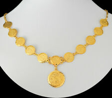 Custom Arabic Coin Pendant Necklace 24k Gold Plated (1/2 Inch Coins) - Didymus