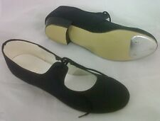 BRAND NEW BLACK CANVASS TAP DANCING DANCE SHOES KIDS/ADULT SIZES WITH TOE PLATES