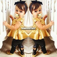 Lovely Gold  Baby Girls Kids Shirt Dress Legging Pants Casual Clothes Sets Suit