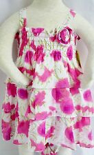 PENELOPE MACK Girls PINK WHITE FLORAL RUFFLED TIERED Dress DIAPER COVER NWTS