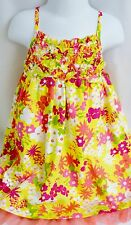 PENELOPE MACK Girls DRESS YELLOW PINK GREEN FLORAL PANTIES Lined DIAPER COVER