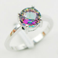 Concave Cut Rainbow Topaz 925 Sterling Silver Ring Size 5 6 7 8 9 10 11 12 A28