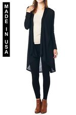 WOMEN SOLID CASUAL LONG SLIM CARDIGAN OUTWEAR - MADE IN USA (MORE COLORS)
