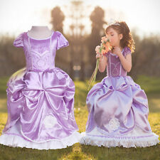 Chic Girls Kids Purple Frozen Elsa Princess Imperial Party Wedding Fancy Dress