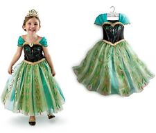 Movies Disney Frozen Princess Anna Cosplay Costume Dress Kids Girls Cape 3-8Yrs