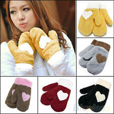Womens New Vogue Full finger Love Heart Plush Winter Snow Warm Mittens Gloves