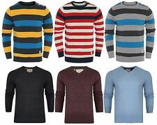 New Mens Brave Soul Slim Fitted V Neck Crew Neck Knitted Jumper Jacquard D26