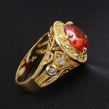 Size 9-11 Jewelry Mens Jewelry Round Red Garnet Yellow Gold Filled Huge Ring
