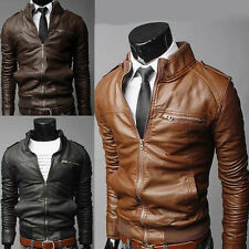 Men's 5 size Sexy Slim Fit PU Leather Coat Top Designed Outerwear  Short Jacket