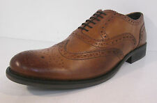 Mens Walnut tan leather lace up brogue shoe by Base £49.99