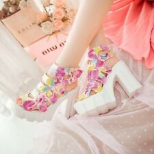 Colorful Buckles Open Toe Women Chunky Block High Heels Platform Creeper Sandals