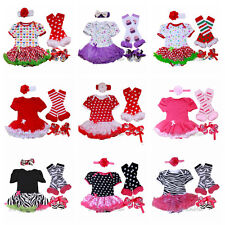 Newborn Infant Baby Girl 4pcs Romper Dress with headband & shoes & Legs 0-9M