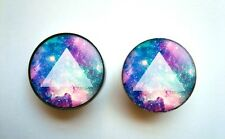 Pair of Triangle Galaxy Double Flare Screw on PLUG Ear Gauges