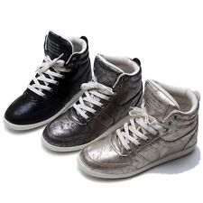 Women's Metallic Shiny Lace Up High Top Sneakers Lady High Top Trainers