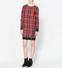 ZARA BLACK/RED CHECKED DRESS WITH ZIPS SIZE: S Ref. 0264/267